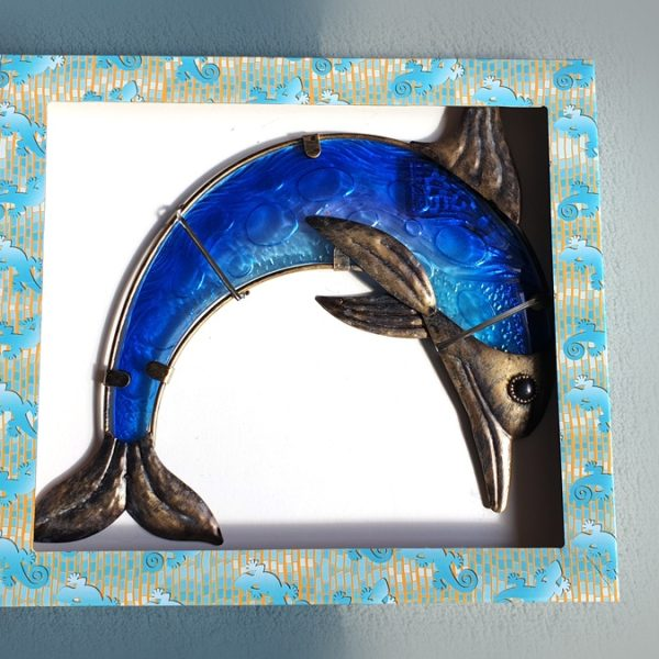 Dolfijn xl foto metaal glas