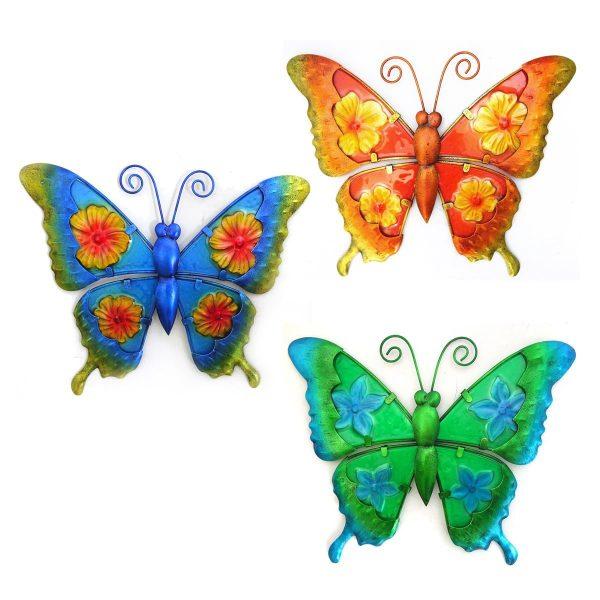 Wanddecoratie vlinders in 3 kleuren