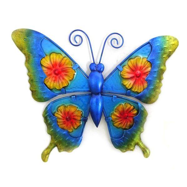 Vlinder bloem print glas metaal maat L