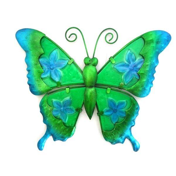 Wanddecoratie vlinder bloem print glas metaal maat L
