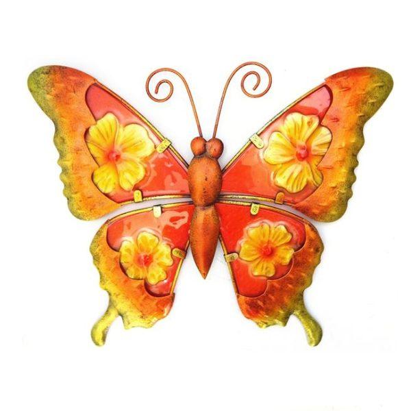 Vlinder bloem print metaal glas maat L