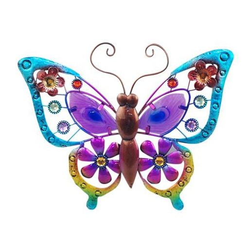 wanddecoratie vlinder maat L paars