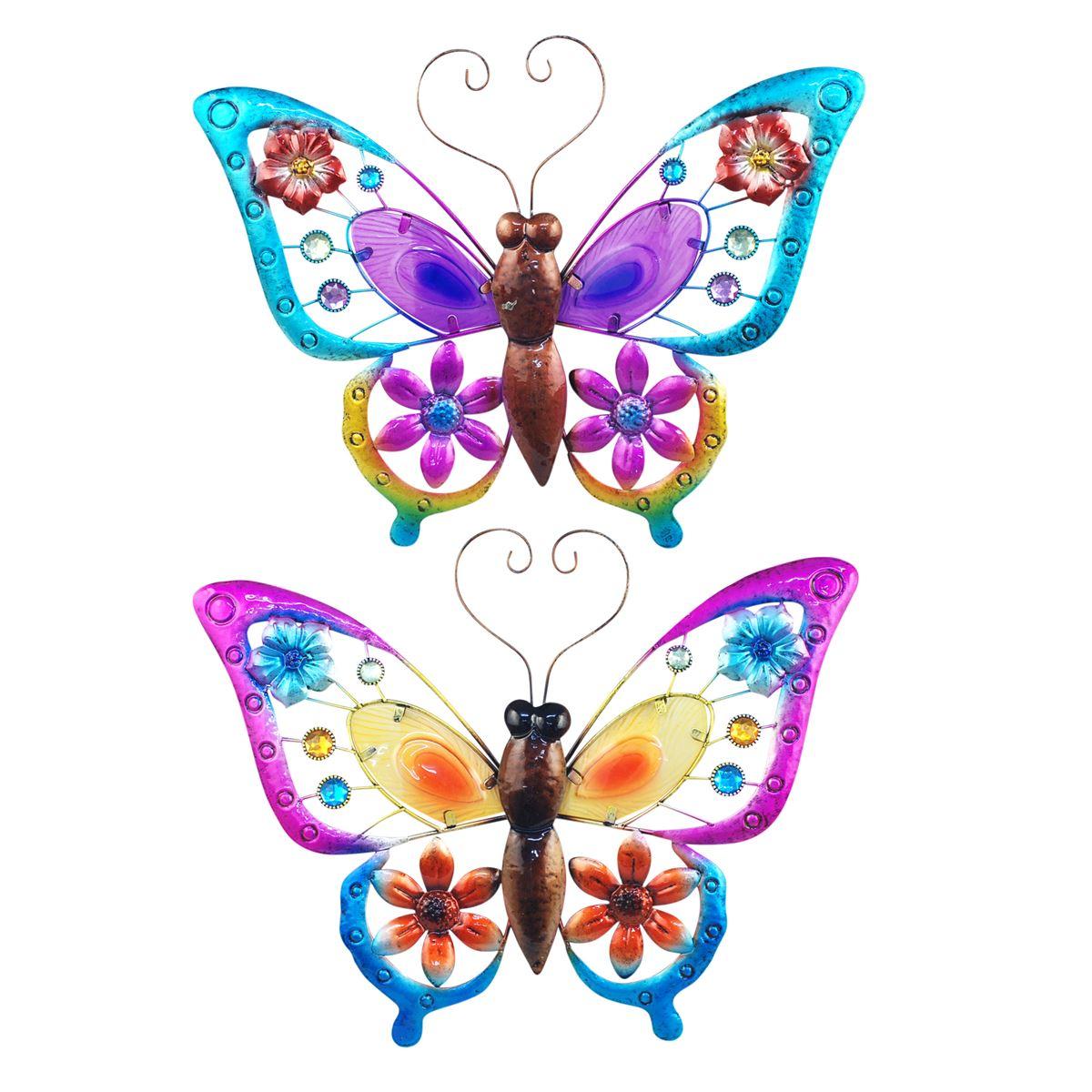 Wanddecoratie vlinders in diverse kleuren maat XL