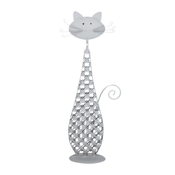 kat staand zilver metaal 34cm xl