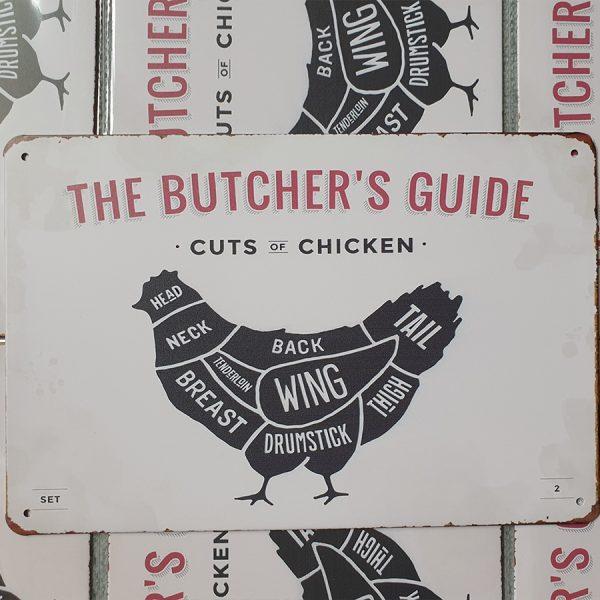 bbq slagersgids butcher's guide kip 20x30 metaal
