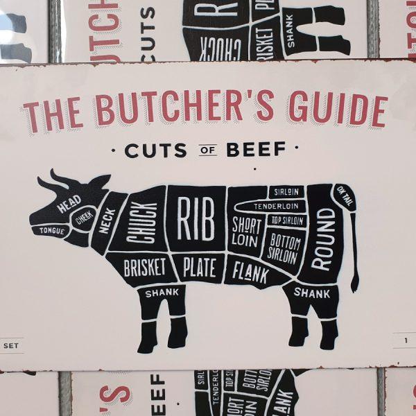 bbq slagersgids butcher's guide rund 20x30 metaal