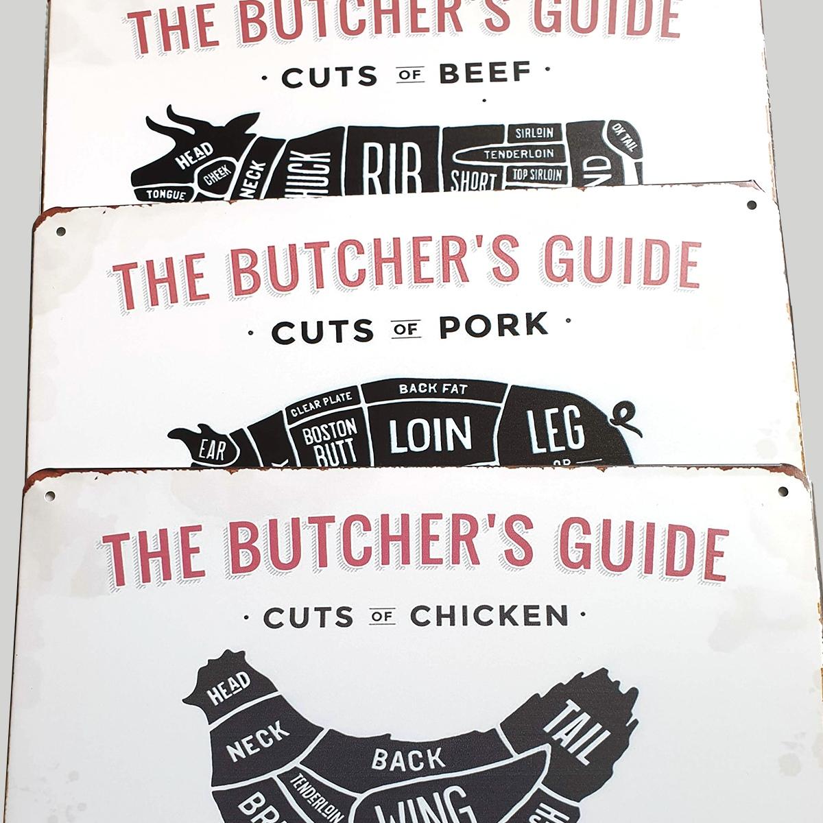 bbq rund + varken + kip butcher's guide slagers gids metaal 20 x 30