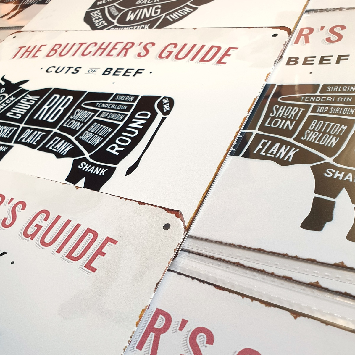 bbq slagersgids butcher's guide rund varken kip 20x30 metaal