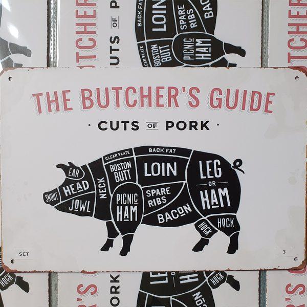 bbq slagersgids butcher's guide varken 20x30 metaal