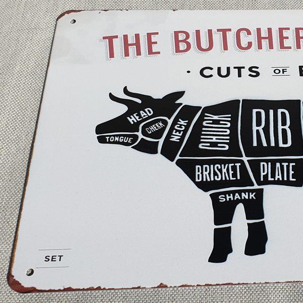 slagersgids | The butcher's guide metaal plaat voorkant links